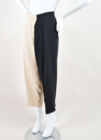 Chloe Black and Blush Crepe Color Block Wide Tapered Leg Trousers Sideview