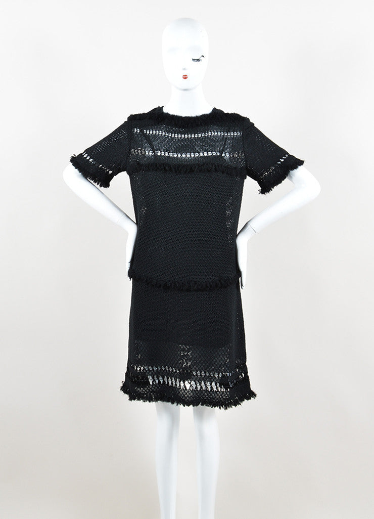 "Isabel Marant Black Knit Crochet Fringe Trim ""Tacoma"" Dress Frontview"