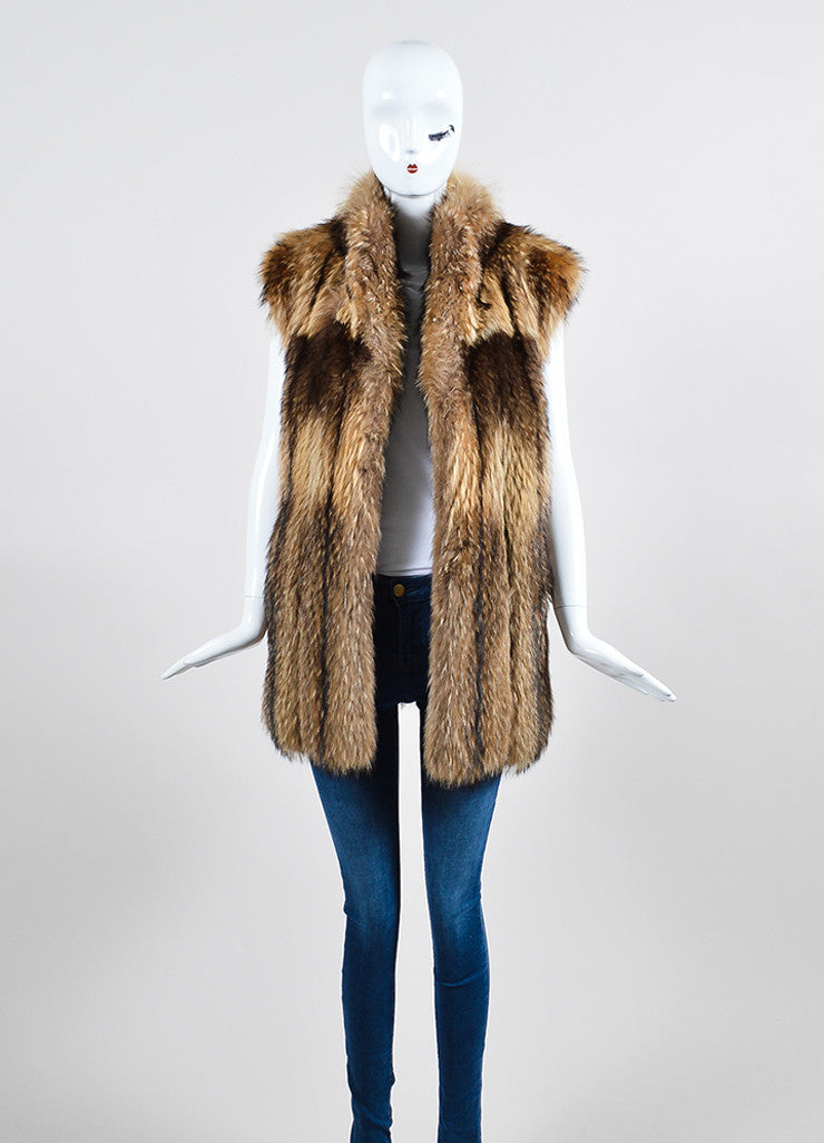 Tan and Brown Leaf's Lush Fur Longline Vest Frontview