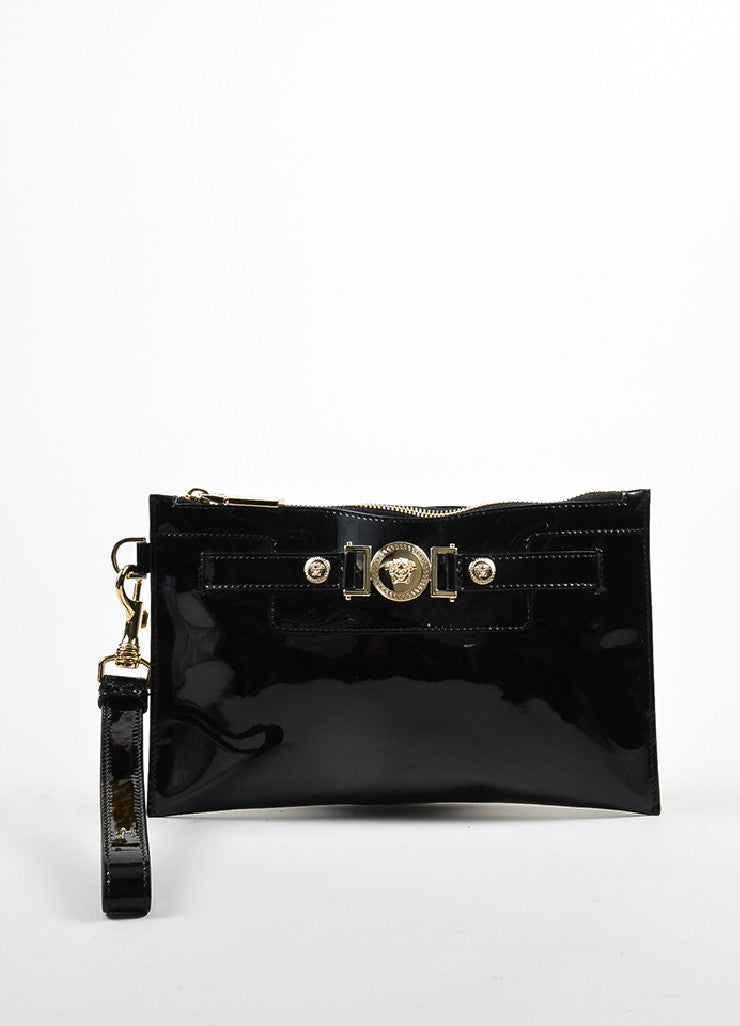 Black Versace Patent Leather Medallion Wristlet Clutch Front