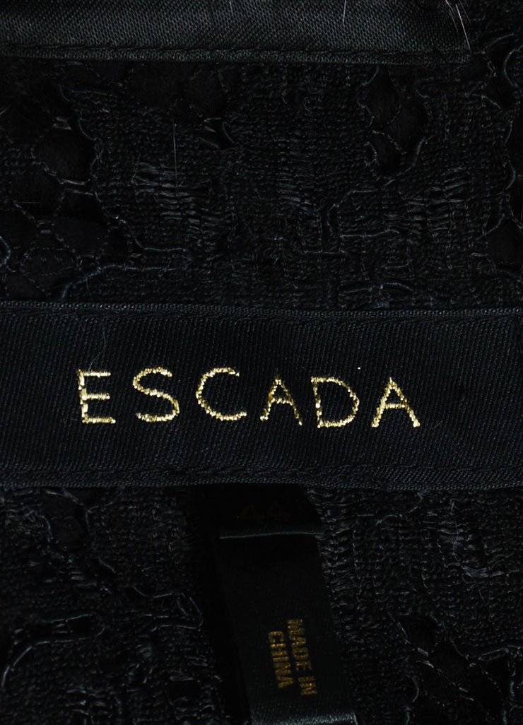 Escada Black Mink Fur Embroidered Floral Lace Beaded Jacket Brand