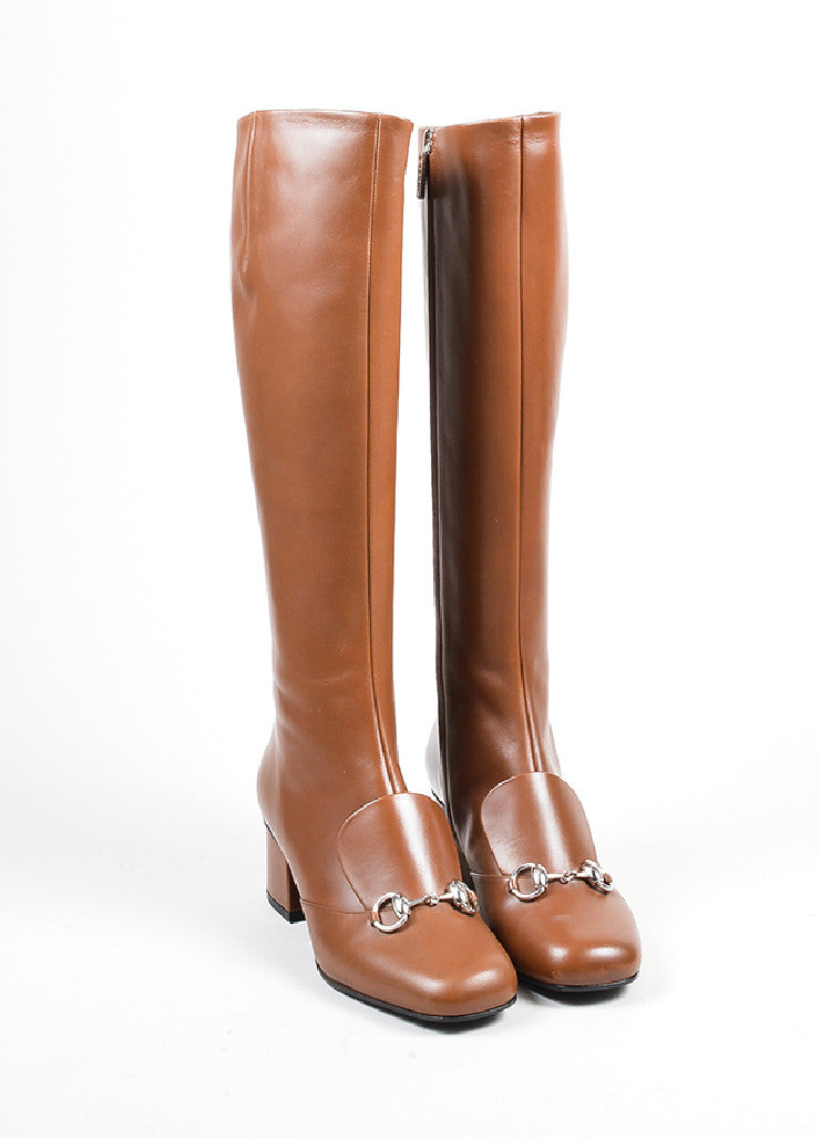 "Brown Gucci Leather Silver Tone Horsebit ""Twiggy"" Boots Front"