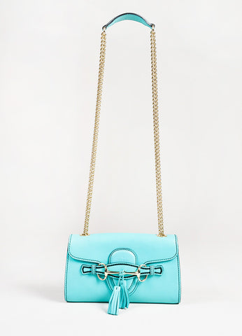 "Gucci Teal Leather Silver Tone Horsebit Tassel ""Emily"" Shoulder Bag front"