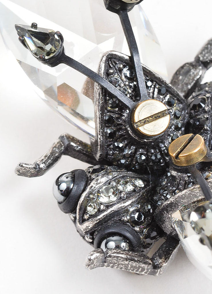 Lanvin Silver Toned Rhinestone and GlassCrystal Flying Insect Pin Brooch Detail