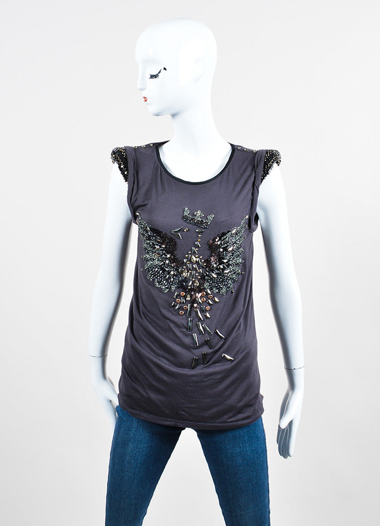 Grey Lanvin Jersey Knit Bird Beaded Rhinestone Sequin Embellished Sleeveless Tee Frontview