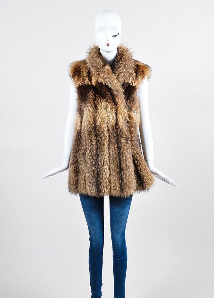 Tan and Brown Leaf's Lush Fur Longline Vest Frontview 2