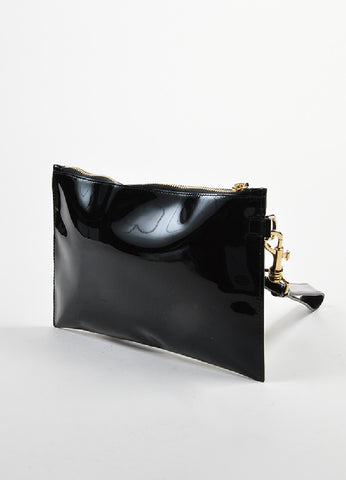 Black Versace Patent Leather Medallion Wristlet Clutch Back
