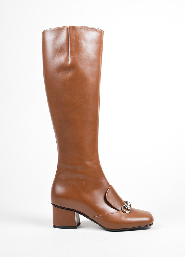 "Brown Gucci Leather Silver Tone Horsebit ""Twiggy"" Boots Side"
