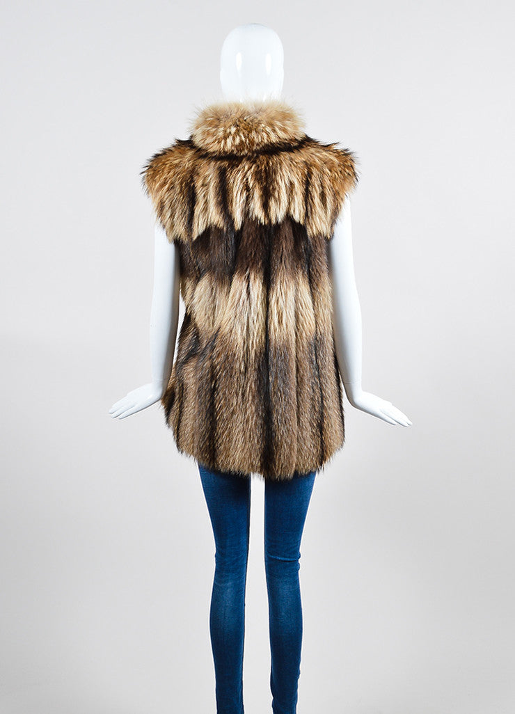 Tan and Brown Leaf's Lush Fur Longline Vest Backview