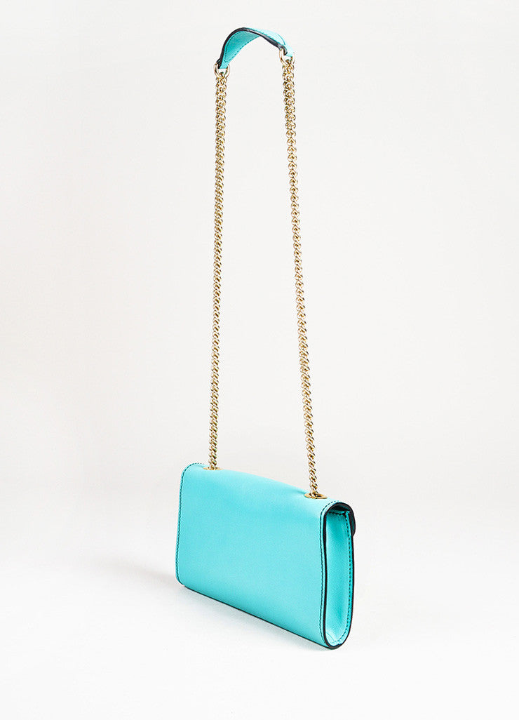 "Gucci Teal Leather Silver Tone Horsebit Tassel ""Emily"" Shoulder Bag angle"