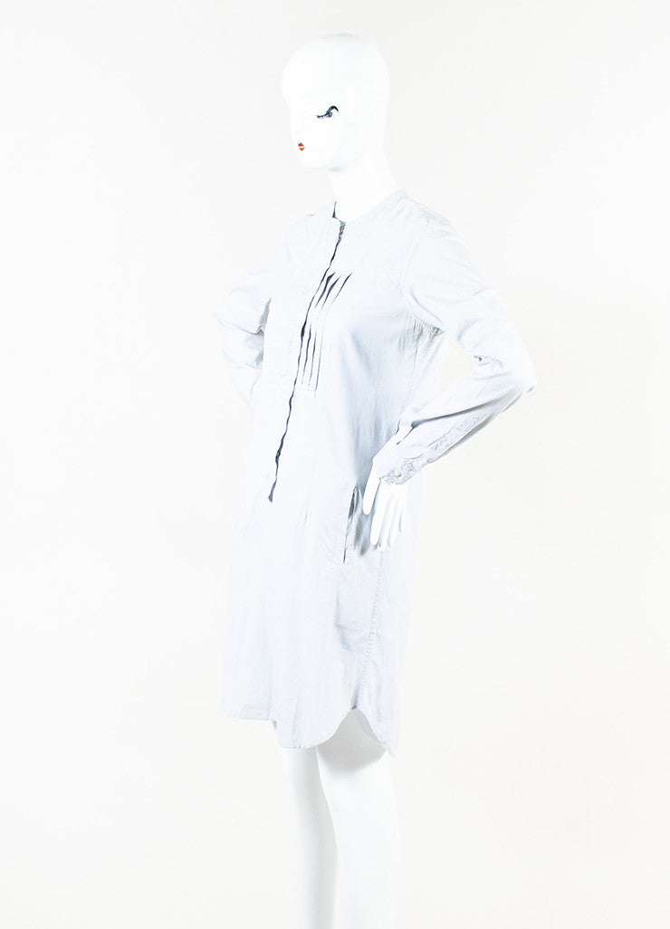 Isabel Marant White and Grey Pinstriped Long Sleeve Pleated Shirt Dress Sideview
