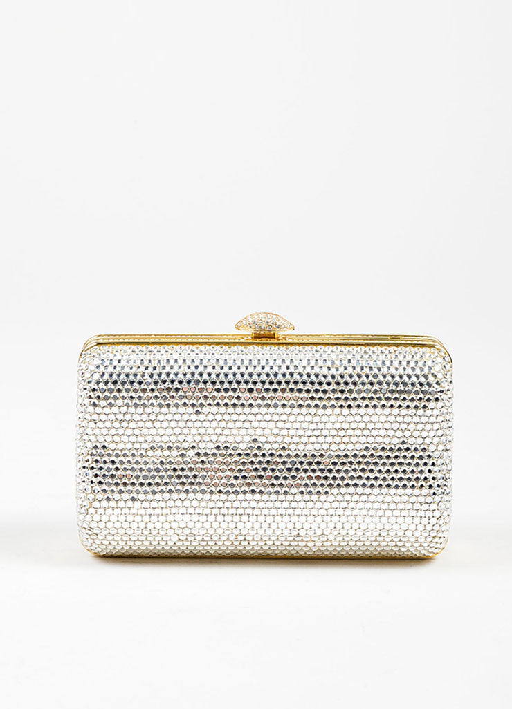 Judith Leiber Swarovski Crystal Embellished Chain Strap Minaudiere Clutch Bag Frontview