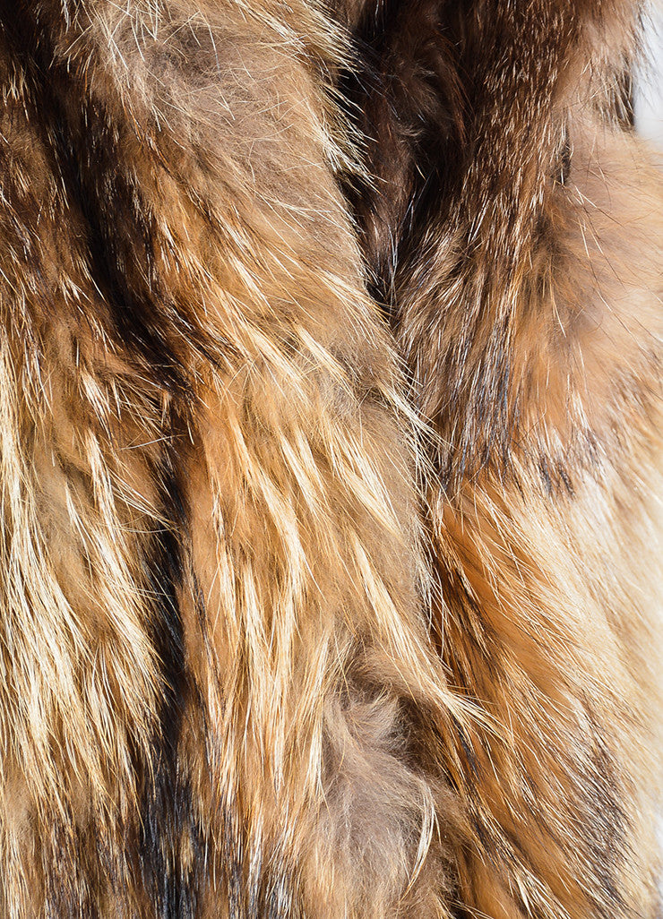 Tan and Brown Leaf's Lush Fur Longline Vest Detail