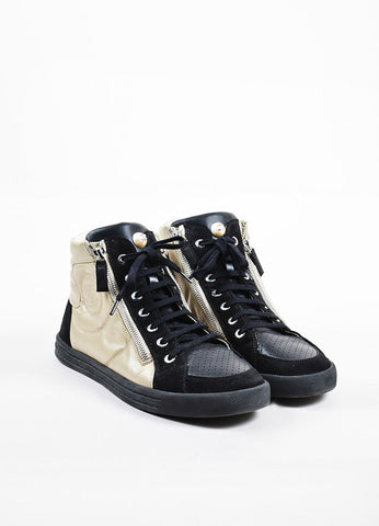 Black and Beige Chanel Nylon and Suede Perforated 'CC' Logo High Top Sneakers Frontview