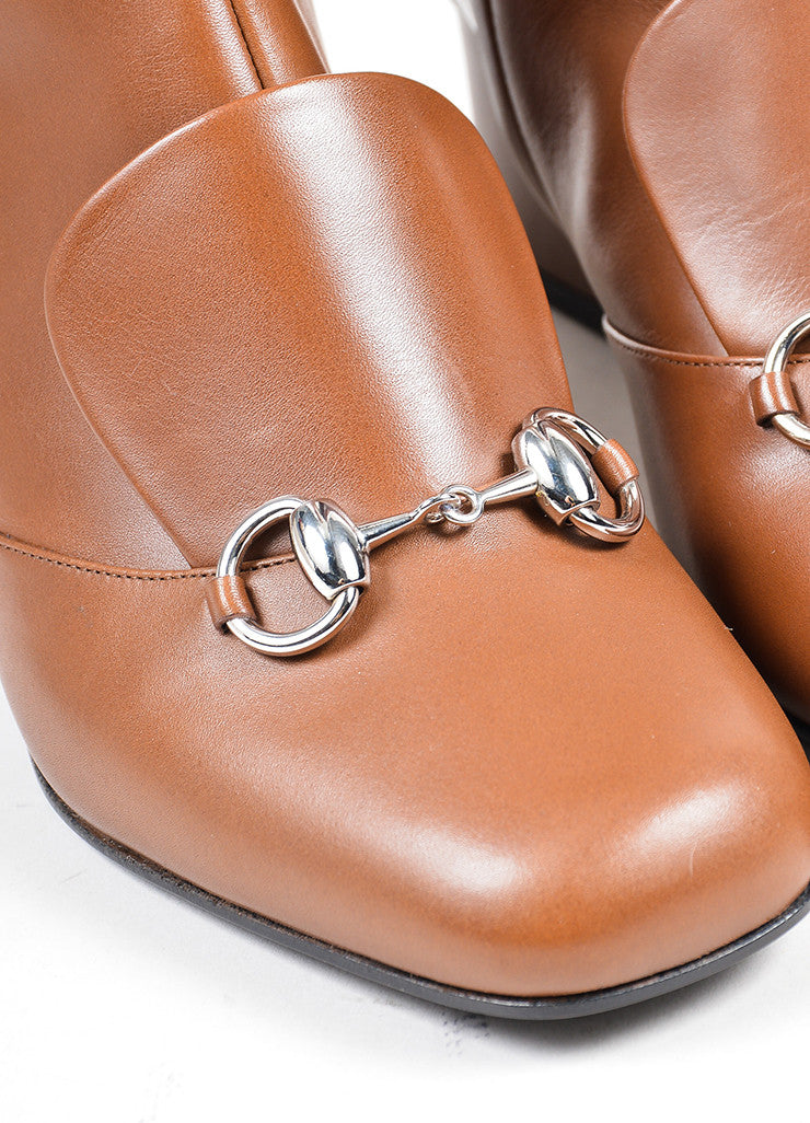 "Brown Gucci Leather Silver Tone Horsebit ""Twiggy"" Boots Detail"