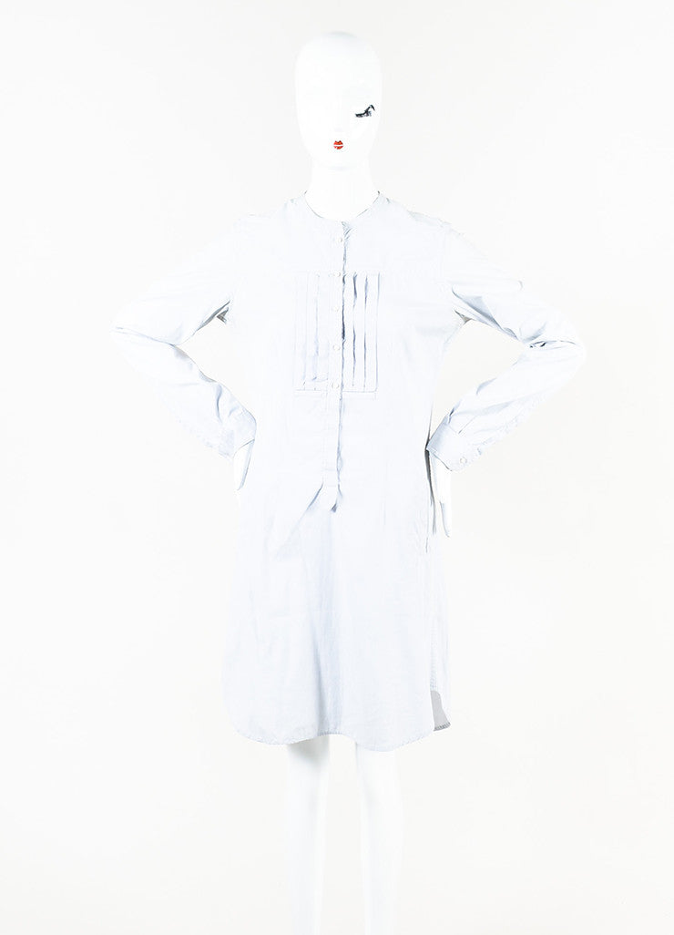 Isabel Marant White and Grey Pinstriped Long Sleeve Pleated Shirt Dress Frontview