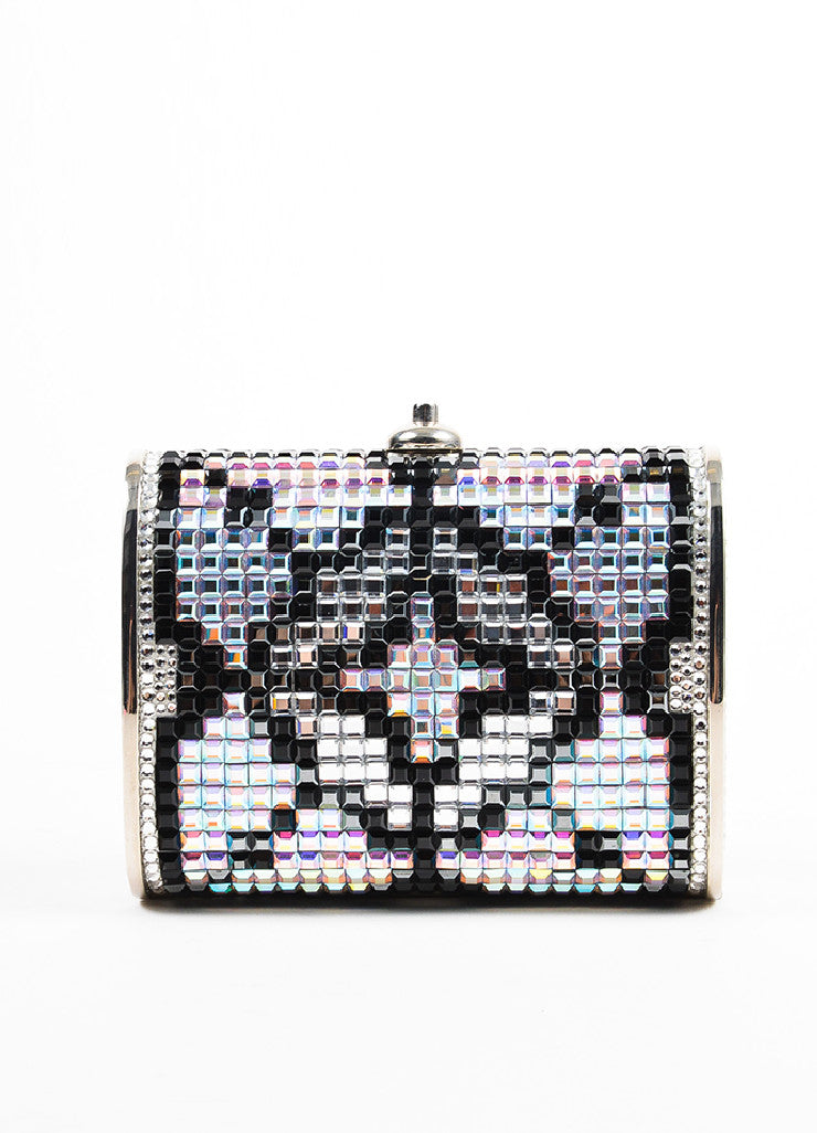 Judith Leiber Silver Toned, Black, and Iridescent Swarovski Crystal Minaudiere Bag Frontview