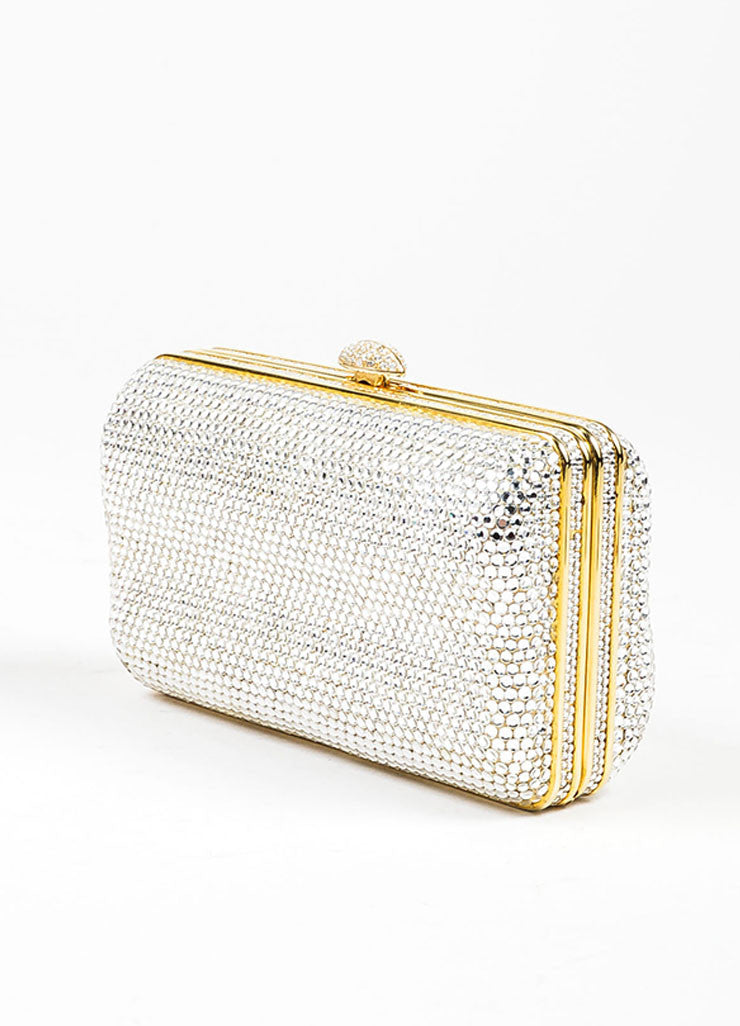 Judith Leiber Swarovski Crystal Embellished Chain Strap Minaudiere Clutch Bag Sideview