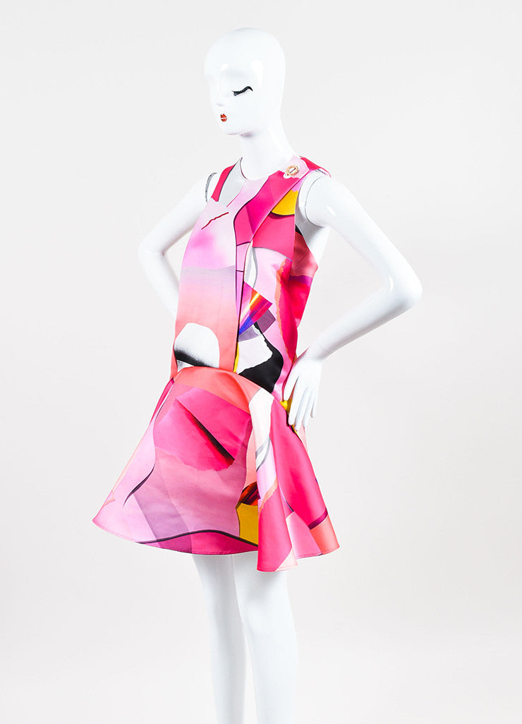 Kenzo Pink and Multicolor Satin Print Sleeveless Godet Shift Dress Sideview