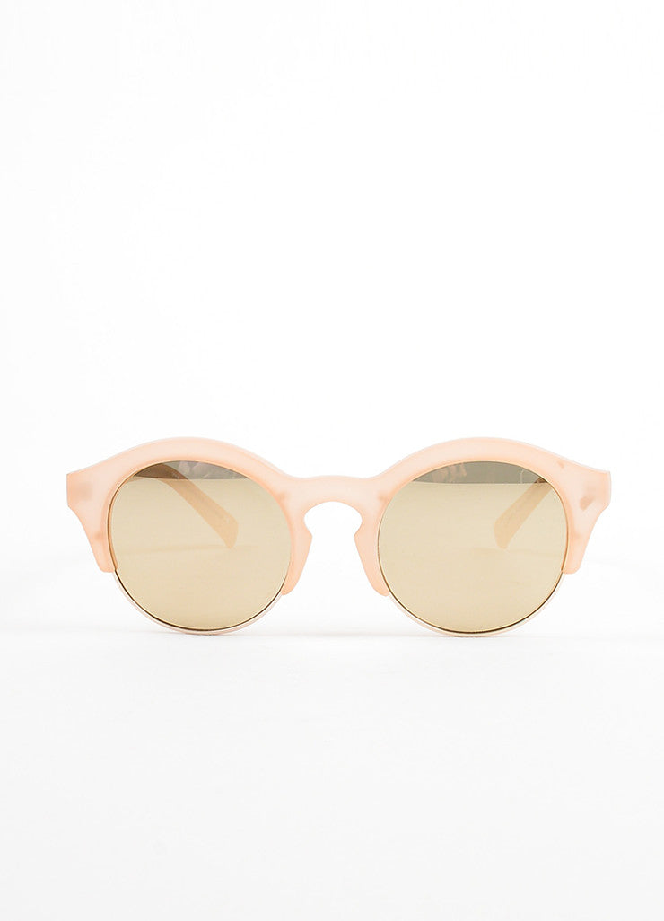 "Self Portrait x Le Specs Pink and Gold Mirrored Retro ""Edition Five"" Sunglasses Frontview"