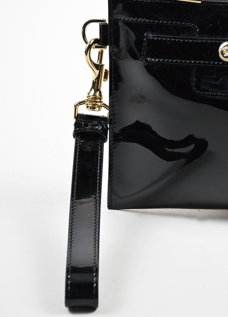 Black Versace Patent Leather Medallion Wristlet Clutch Detail 3