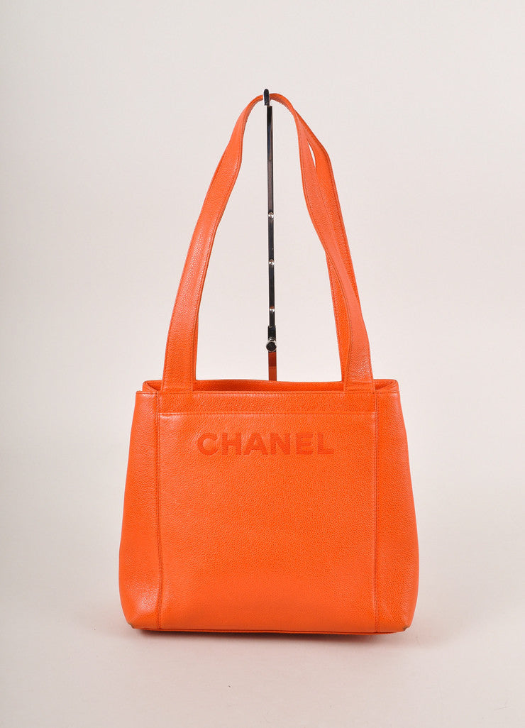 "Chanel Orange Caviar Leather ""CHANEL"" Stitched Tote Bag Frontview"
