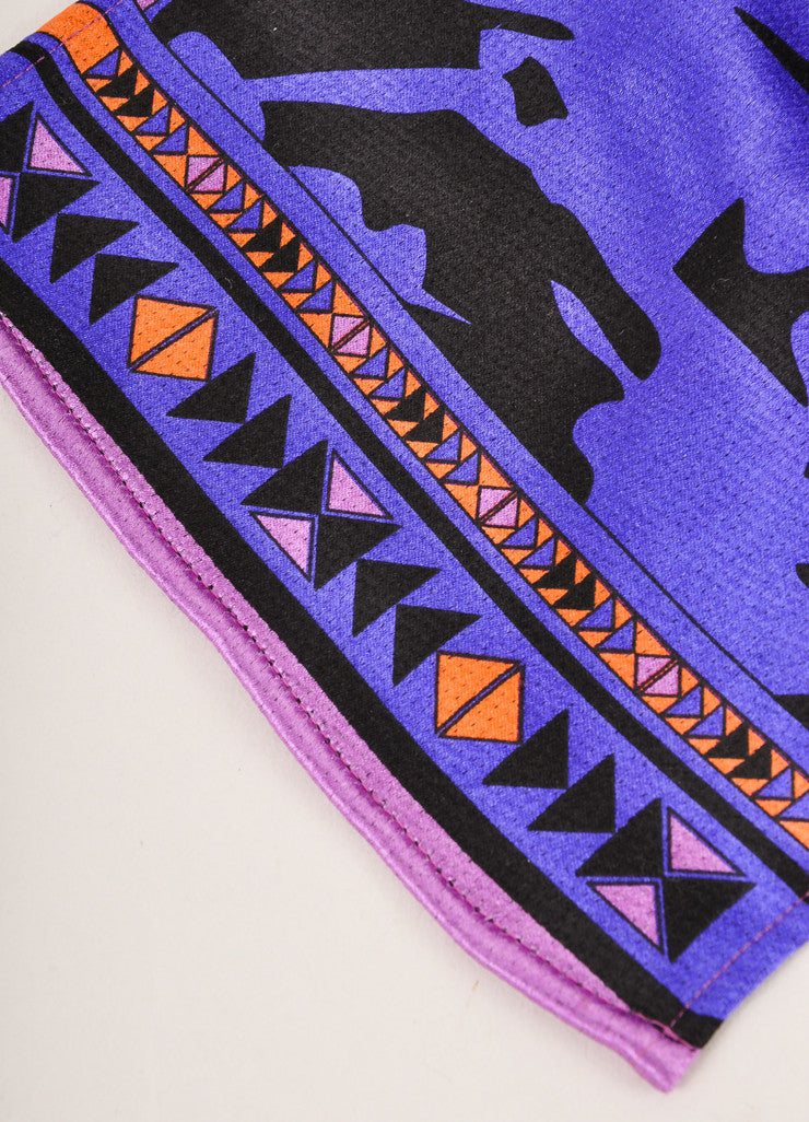 Emilio Pucci Black and Purple Floral Print Silk and Knit Scarf Detail 3