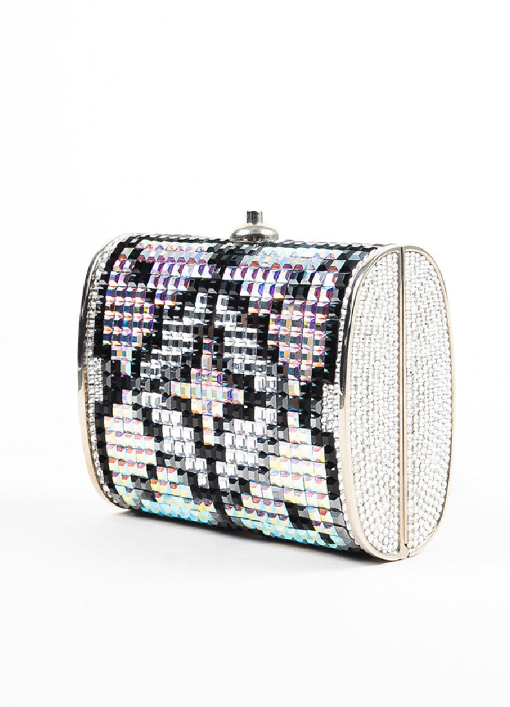 Judith Leiber Silver Toned, Black, and Iridescent Swarovski Crystal Minaudiere Bag Sideview