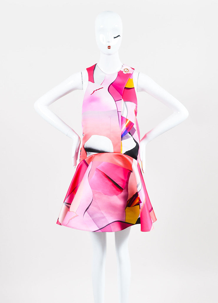 Kenzo Pink and Multicolor Satin Print Sleeveless Godet Shift Dress Frontview