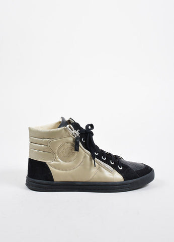 Black and Beige Chanel Nylon and Suede Perforated 'CC' Logo High Top Sneakers Sideview