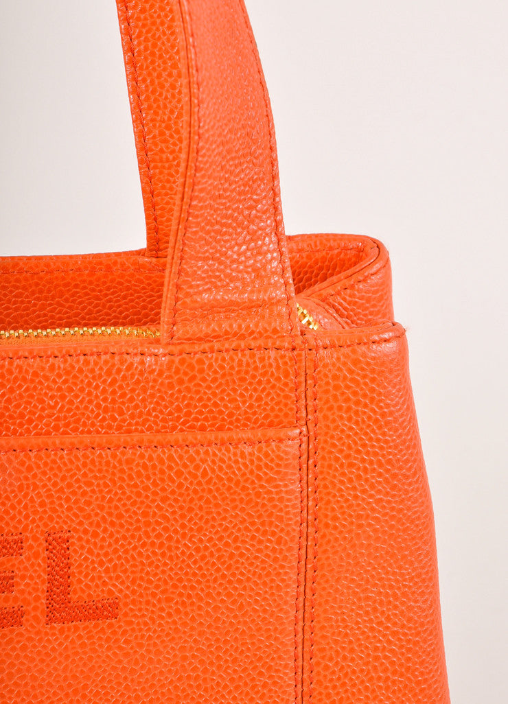 "Chanel Orange Caviar Leather ""CHANEL"" Stitched Tote Bag Detail 2"