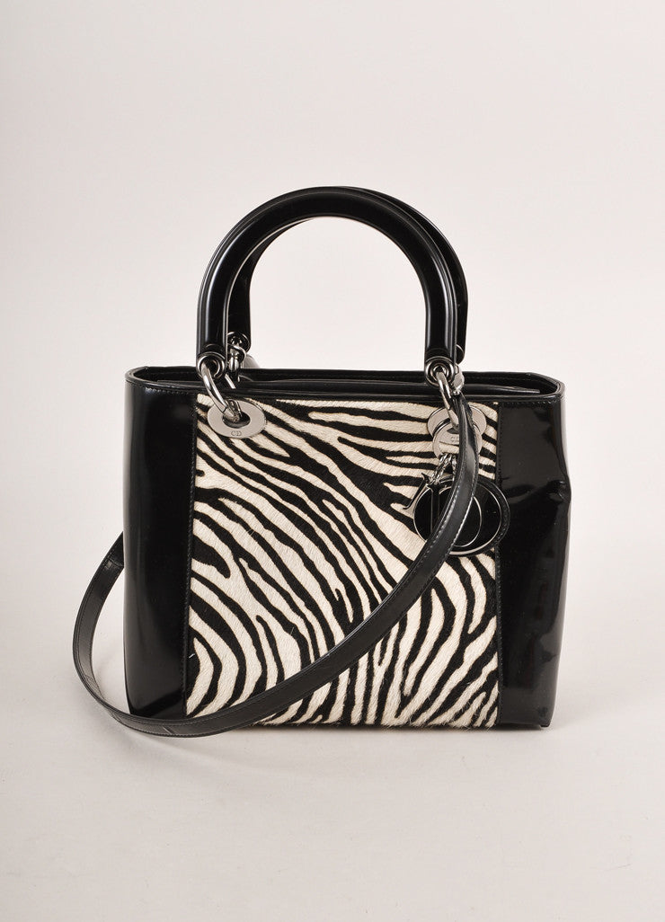 "Christian Dior Black and White Zebra Pony Hair and Leather ""Lady"" Top Handle Tote Bag Frontview"