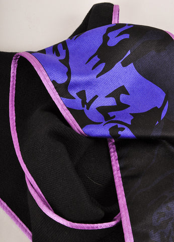 Emilio Pucci Black and Purple Floral Print Silk and Knit Scarf Detail