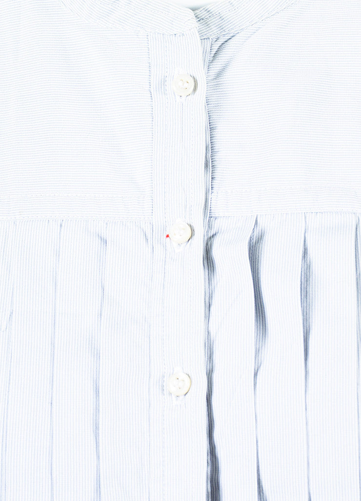 Isabel Marant White and Grey Pinstriped Long Sleeve Pleated Shirt Dress Detail