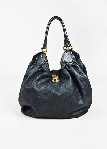 "Louis Vuitton Black Leather Perforated Monogram ""Mahina L"" GHW Hobo Bag Frontview"
