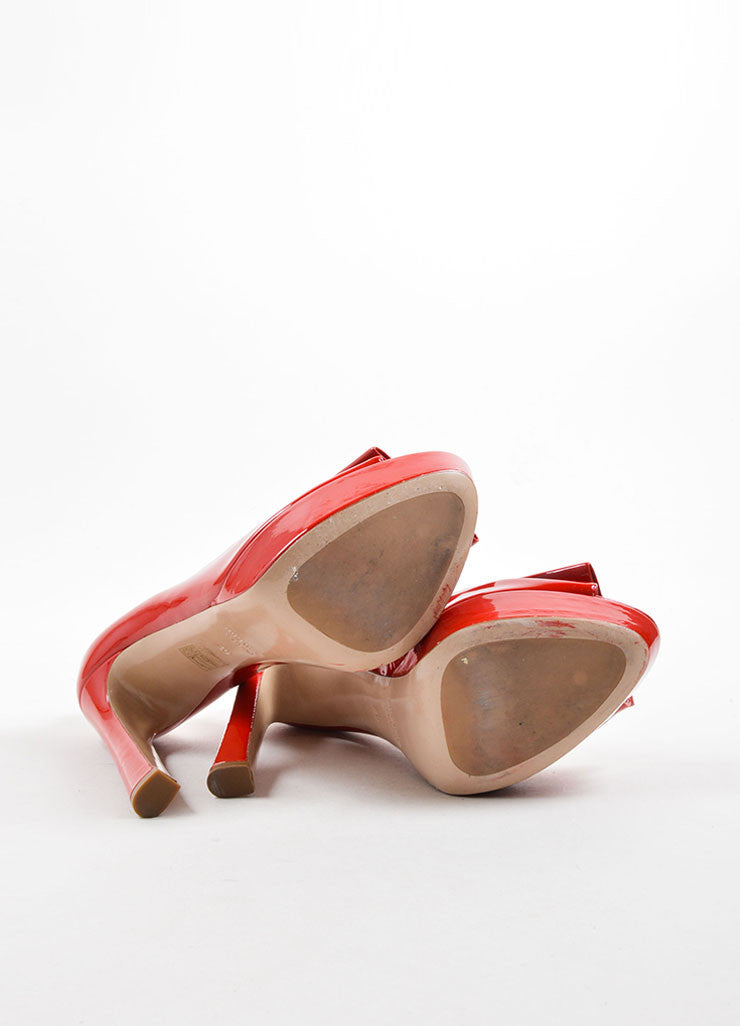 Miu Miu Red Patent Leather Peep Toe Platform Pumps Sole