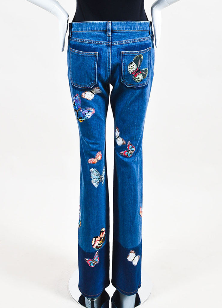 Blue Valentino Multicolor Butterfly Embroidered Denim Jeans Back