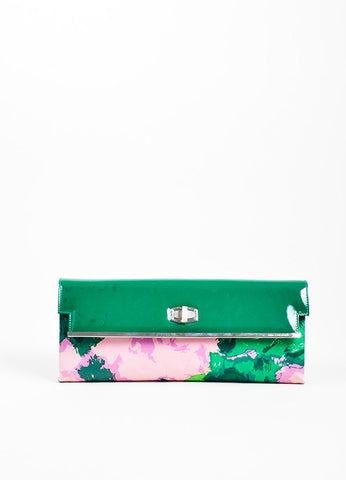 Green, Lilac, and Pink Balenciaga Patent Leather and Satin Flap Clutch Bag Frontview