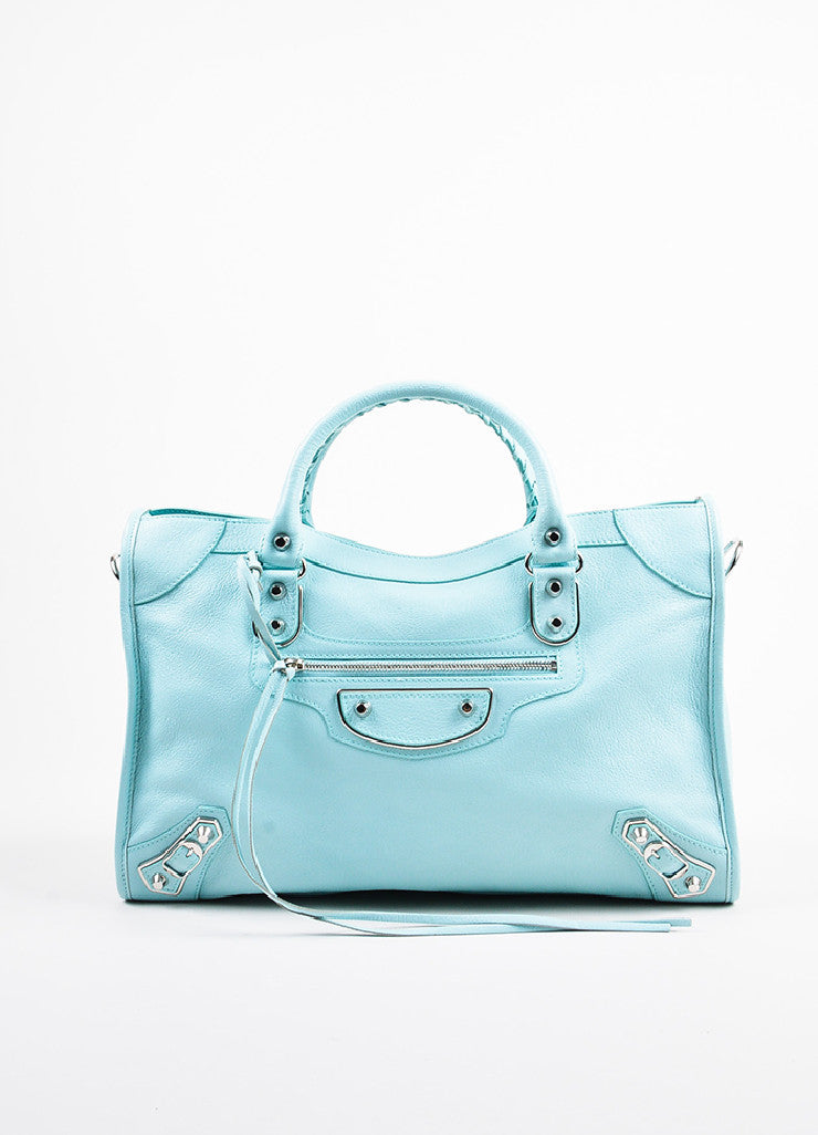 "Balenciaga Baby Blue Chevre ""Classic Metallic Edge City"" Bag Frontview"