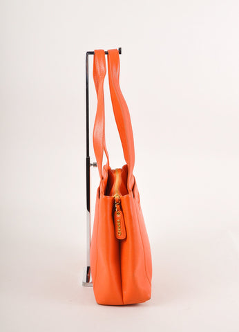 "Chanel Orange Caviar Leather ""CHANEL"" Stitched Tote Bag Sideview"