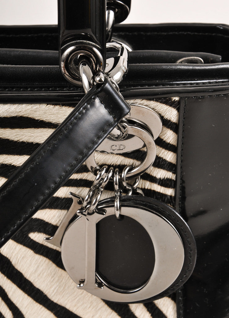 "Christian Dior Black and White Zebra Pony Hair and Leather ""Lady"" Top Handle Tote Bag Detail 2"