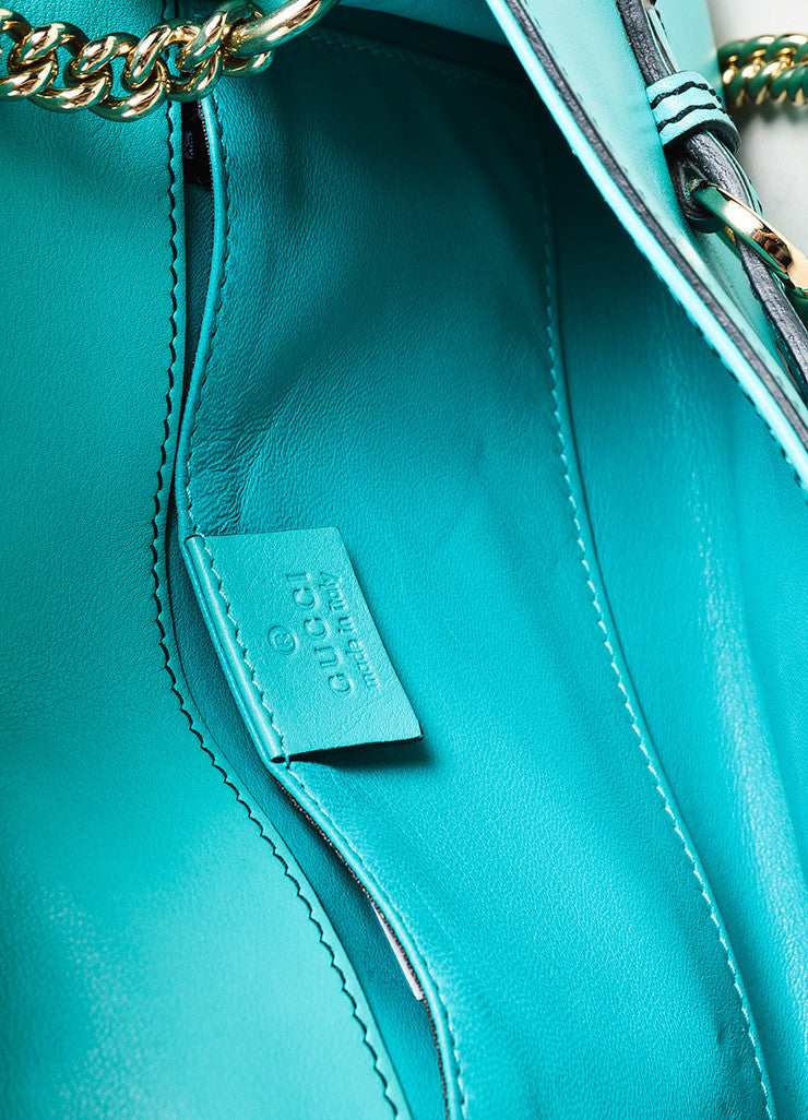 "Gucci Teal Leather Silver Tone Horsebit Tassel ""Emily"" Shoulder Bag interior"