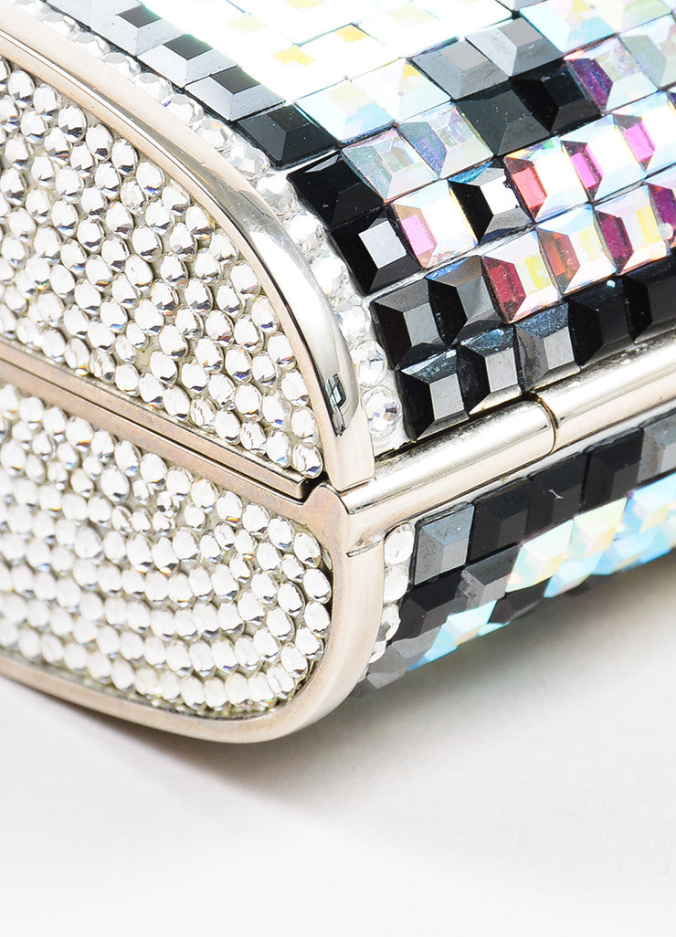 Judith Leiber Silver Toned, Black, and Iridescent Swarovski Crystal Minaudiere Bag Detail
