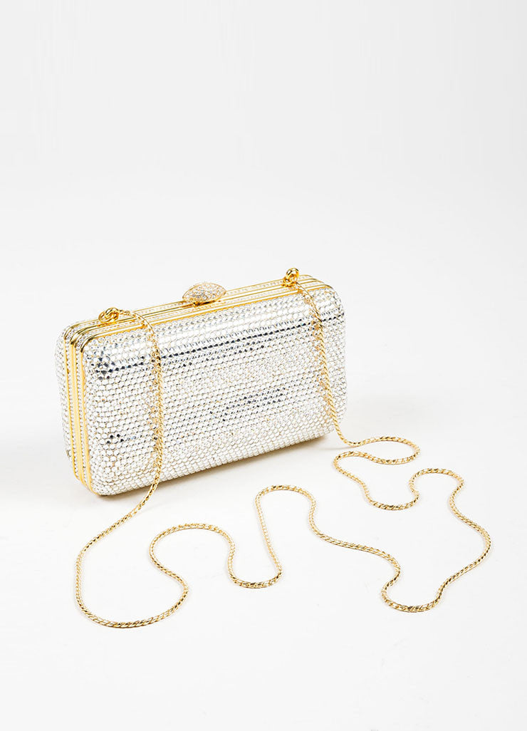 Judith Leiber Swarovski Crystal Embellished Chain Strap Minaudiere Clutch Bag Topview
