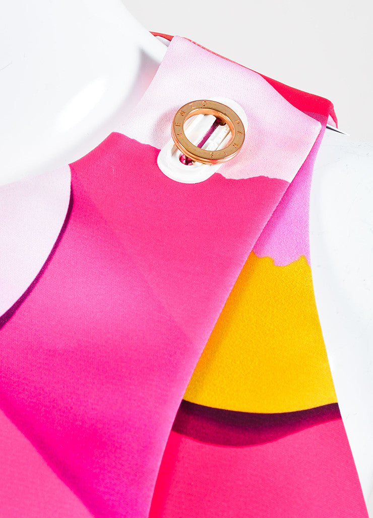 Kenzo Pink and Multicolor Satin Print Sleeveless Godet Shift Dress Detail