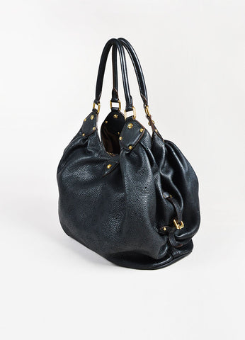 "Louis Vuitton Black Leather Perforated Monogram ""Mahina L"" GHW Hobo Bag Sideview"