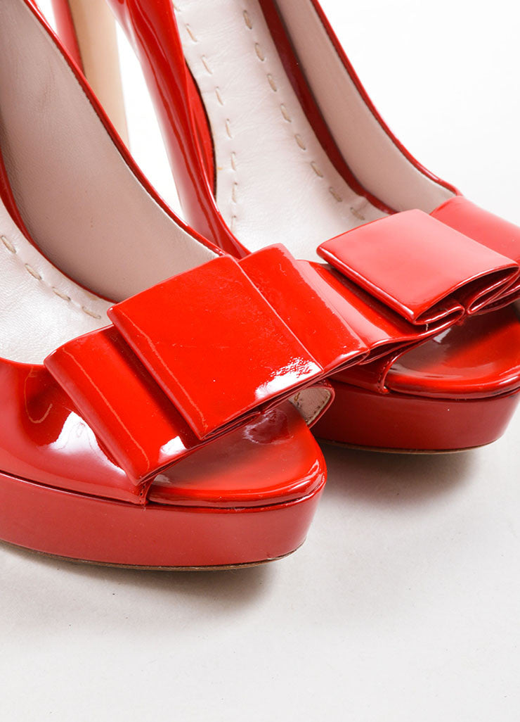 Miu Miu Red Patent Leather Peep Toe Platform Pumps Detail