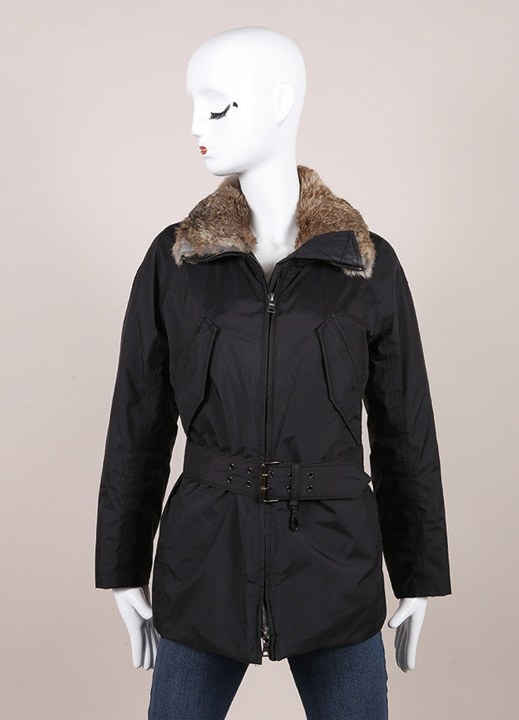 Prada Sport Black and Brown Fur Trimmed Collar Belted Zip Jacket Frontview