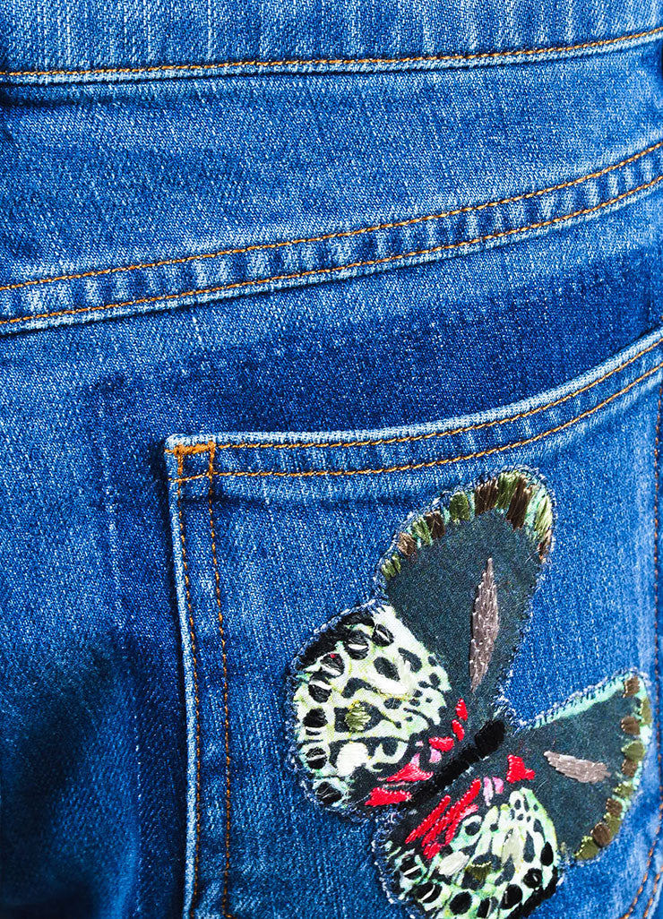 Blue Valentino Multicolor Butterfly Embroidered Denim Jeans Detail