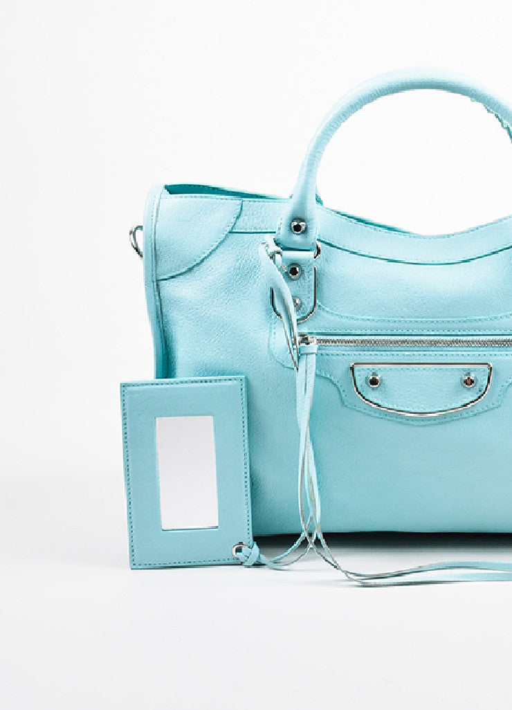 "Balenciaga Baby Blue Chevre ""Classic Metallic Edge City"" Bag Detail 3"